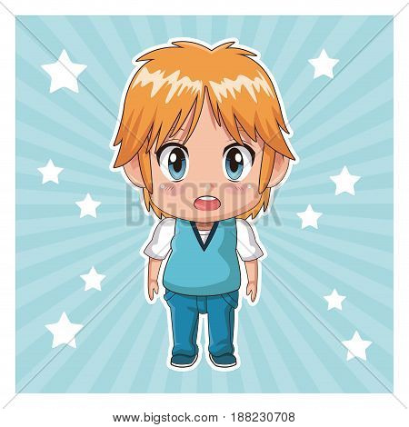 striped color background with stars and cute anime tennager facial expression bewildered vector illustration
