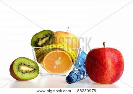 Fresh Fruit Including Yellow Apple, Kiwi Fruit And Orange Halves