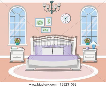 Modern bedroom interior design in pastel colors. Bedroom furniture and decor -  bed, nightstands, lamp, pillow, picture and windows. Flat style vector illustration.