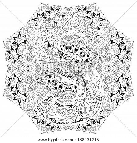 Hand-painted art design. Adult anti-stress coloring page. Black and white hand drawn illustration mandala with letter S for coloring book