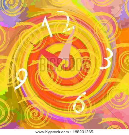 Clock in the time tunnel, abstract colorful background