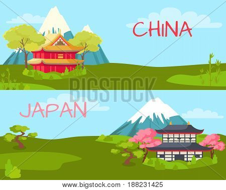 China and Japan vector illustration. Two landscapes Chinese house, green trees and grass, bamboo, snowy mountains and blue sky. Japanese house, cherry blossoms, bonsai tree, snowy mountain and blue sky.