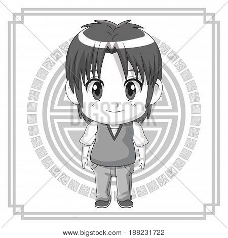 monochrome background japanese symbol with silhouette cute anime tennager expression happiness vector illustration