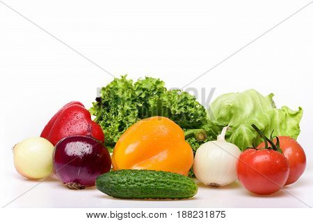 Tomatoes, Peppers, Leafy Vegetables, Lettuce Leaf With Cucumber And Onion