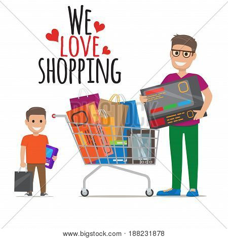 We love shopping icon of father holding big article and son keeping purchases near supermarket cart full of goods. Vector illustration of two smiling male adult and small customers with items