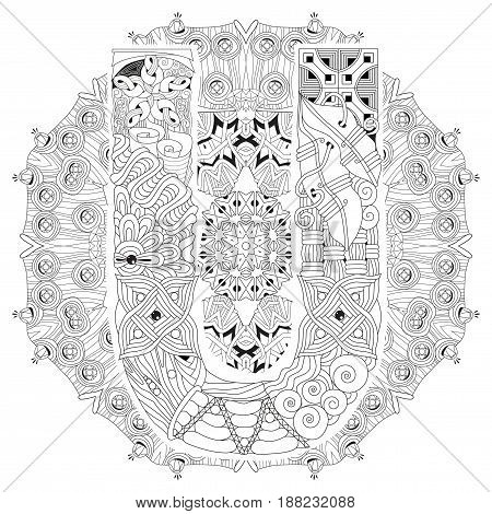 Hand-painted art design. Adult anti-stress coloring page. Black and white hand drawn illustration mandala with letter U for coloring book