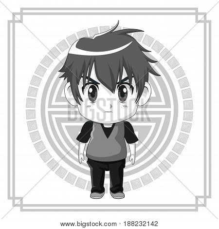 monochrome background japanese symbol with silhouette cute anime tennager facial expression angry vector illustration