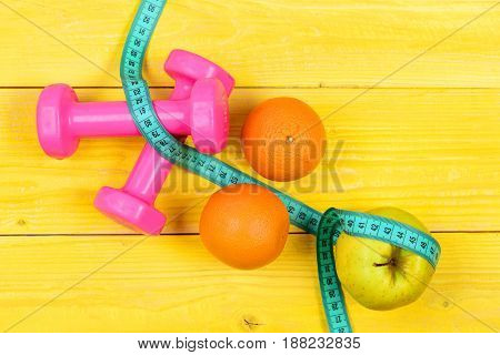 Aerobic Concept, Dumbbells Weight With Measuring Tape ,fruit