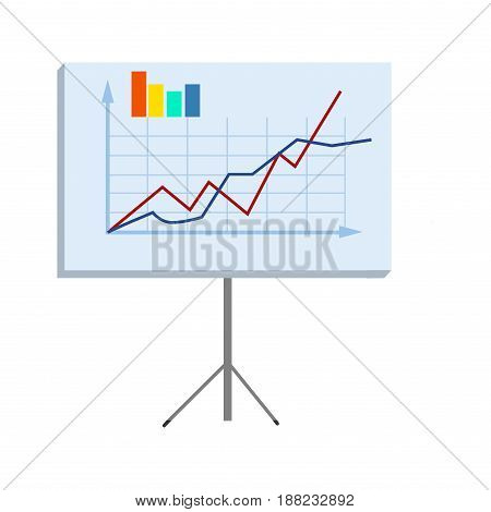 Business chart on high stand isolated on white background. Vivid example of statistical data to better understanding. Vector illustration of colorful curves. Detailed work report in form of graphics.
