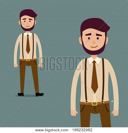 Young cartoon character with beard in brown tie and trousers with suspenders isolated on dark blue background. Man in hipster clothing and with smile in full-length and cropped vector illustration.