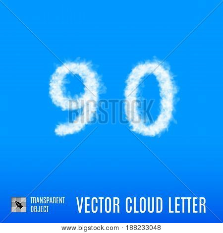 Clouds in Shape of the Number Nine and Zero on Blue Background