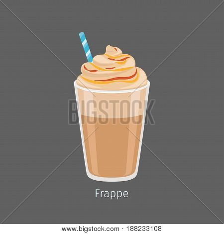 Glass of chilled frappe with straw flat vector. Cold invigorating drink with caffeine. Cooled coffee with frothing milk and sweet flavorings on foam illustration for coffee house and cafe menus design