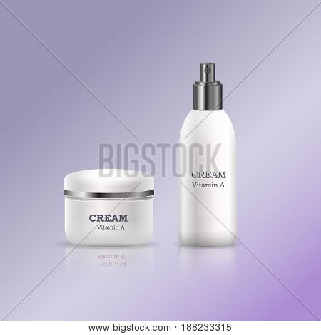 Creams with vitamins in glossy tubes with flat lid and dispenser realistic vector on gradient background. Containers with cosmetics product illustration for skin care, makeup and  woman beauty concept