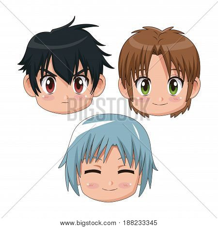 set front view face cute anime tennagers several facial expression vector illustration