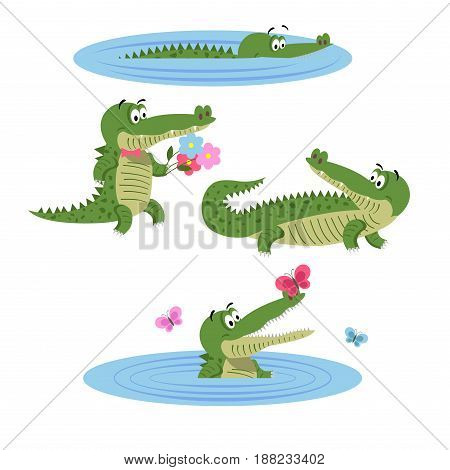 Cartoon crocodiles in water, with butterflies, with flowers in bow tie and in natural animal position isolated on white background. Lovely crocs in wildlife. Friendly reptiles vector illustration. poster