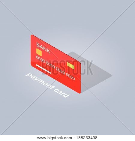 Plastic red payment card in cartoon style flat design on gray background with shadow and text. Vector illustration of cashless payments. Pixel perfect icons for infographics, websites and app.
