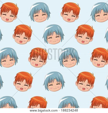 pattern face cute anime tennagers facial expression happiness vector illustration