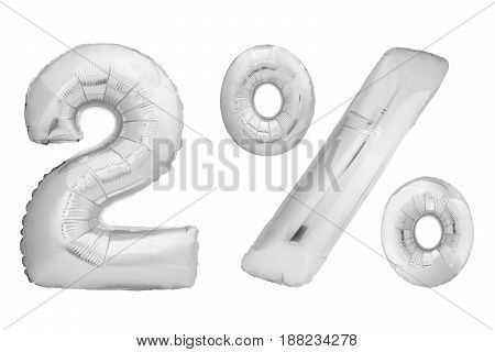 Chrome number 0 made of inflatable balloon isolated on white background. One of full number set