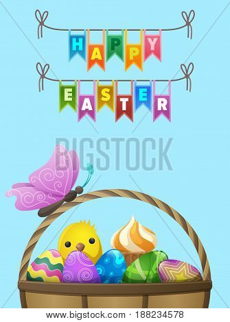 Happy easter flyer. Butterfly seating on handle of wicker basket full of bright painted eggs, cupcake and little chicken vector. Easter festive concept for wrapping paper, greeting card design