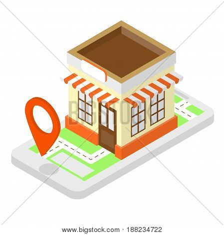 Shop Isometric Illustration With Cell Phone