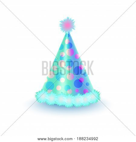 Bright festive cap with purple and blue circles and ribbon isolated on white background. Funny party accessory vector illustration. Holiday headgear for festive mood and having fun in cartoon style