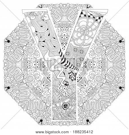 Hand-painted art design. Adult anti-stress coloring page. Black and white hand drawn illustration mandala with letter Y for coloring book