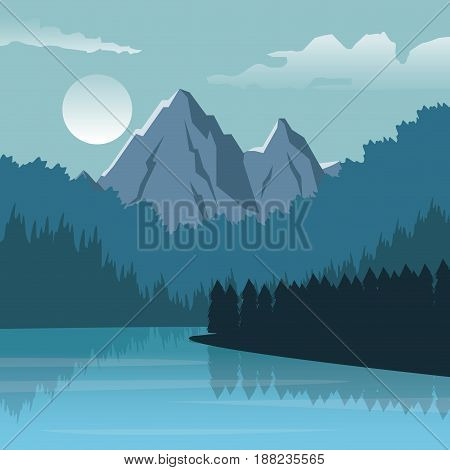 colorful background with night landscape of mountain and river vector illustration