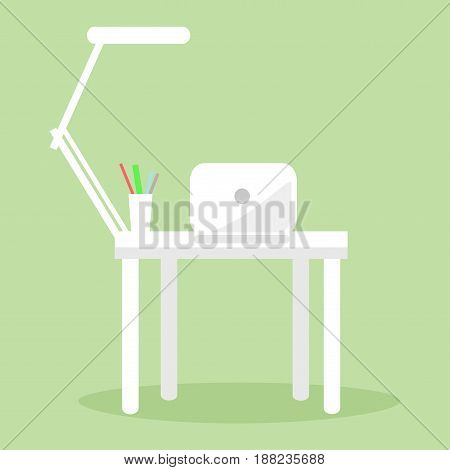 White notebook, table lamp and several pencils and pens on workplace. Futuristic workspace vector illustration. White desk with computer and lamp on it isolated on green background cartoon style