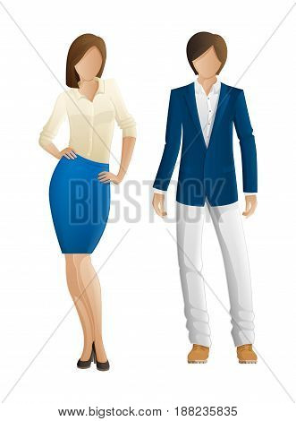 Man and woman faceless fashion models. New spring autumn collection outlook. Woman in blouse and blue skirt and man in fashionable jacket and trousers. Avatar of anonymous profile, vector characters