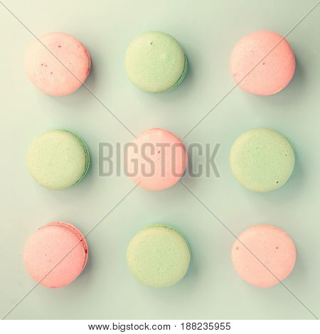 Top view of sweet colorful macaroons. Flat lay