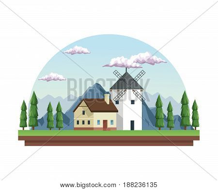 white background with daytime landscape in half round frame with field mountains and house with windmill vector illustration