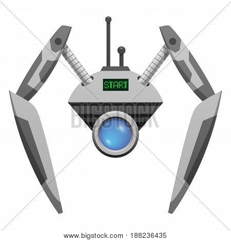 Android robot with glass button and two pincer hands and antennas isolated on white background. Metal device can be used as closed-circuit television camera vector illustration in flat style