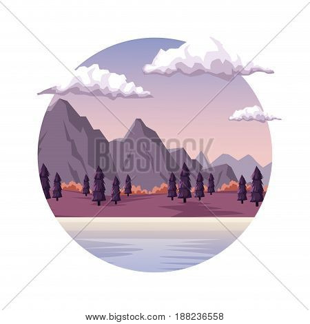 white background with dawn landscape in round frame with mountain valley and lake vector illustration