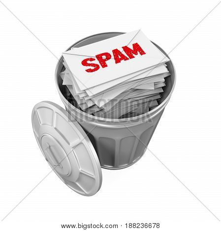 Spam Mails in Trash Can isolated on white background. 3D render