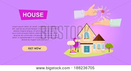 Buying house online property selling web banner vector illustration. Advertising real estate e-commerce concept. Getting new key of beautiful house. Business agreement of customers choice.