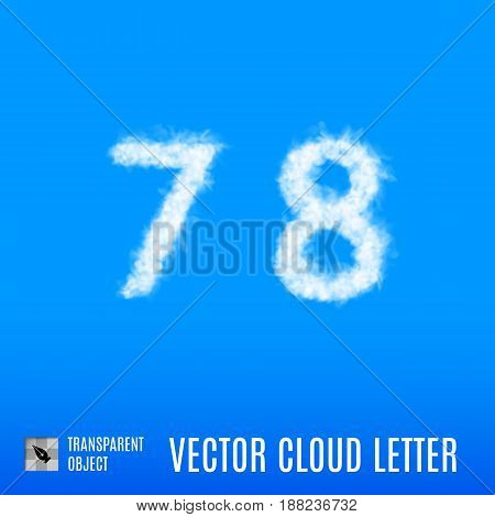 Clouds in Shape of the Number Seven and Eight on Blue Background