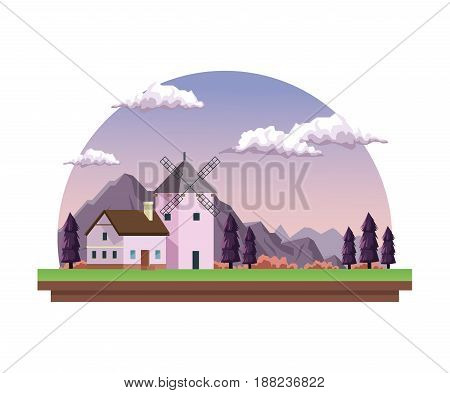 white background with dawn landscape in half round frame with field mountains and house with windmill vector illustration