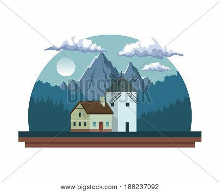 white background with night landscape in half round frame with field mountains and house with windmill vector illustration