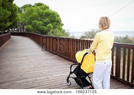 Young mother strolling a baby in carriage outdoors. Back view. Seashore with green trees on background