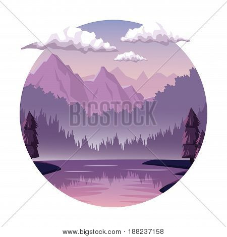 white background with dawn landscape in round frame with mountains and river vector illustration