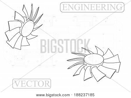 Drawings of fan on a white  background