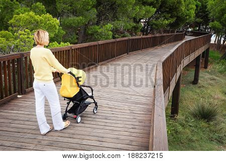 Young woman strolling a baby carriage on wooden bridge in green park. Back view