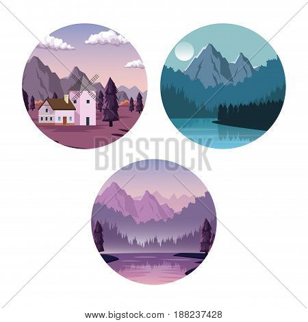 white background with set of landscapes in round frames with dawn and night vector illustration