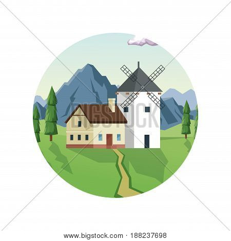 white background with daytime landscape in round frames with field and mountains and house with windmill vector illustration