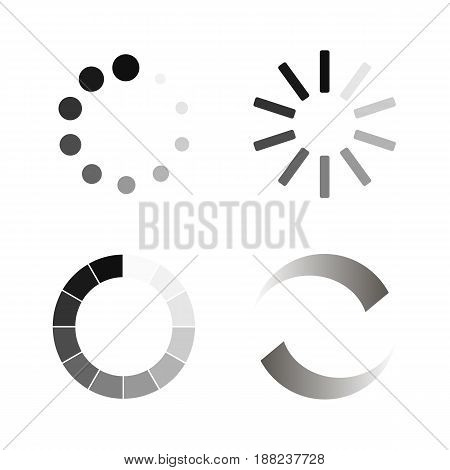 Set Loading icons. Collection of modern preloaders Isolated on white background. Vector illustration eps 10