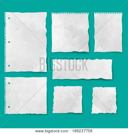 Set of paper different shapes. Collection of white ripped pieces of paper. Isolated vector illustration.