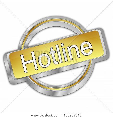silver golden Hotline Button - 3D illustration