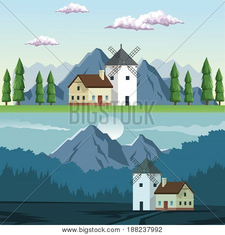 two graphic frames landscape in daytime and night of field and mountains and house with windmill vector illustration