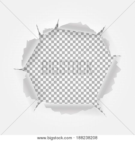 Torn paper with space for text. Torn hole and ripped of paper. Isolated on transparent background. Vector illustration eps 10
