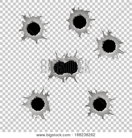 Set of seven bullet holes. Isolated on transparent background. Vector illustration eps 10